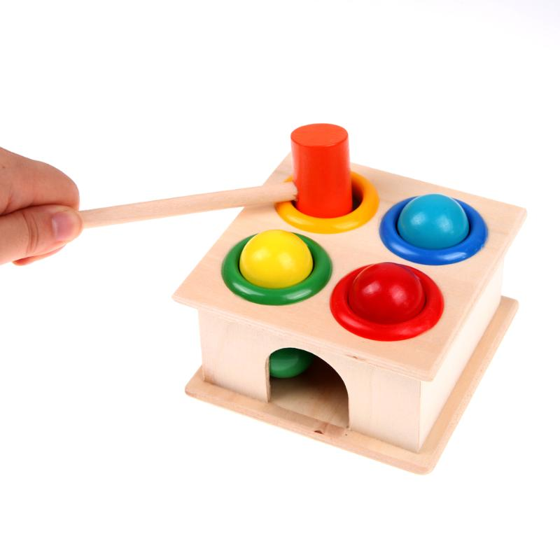 Image 3 - Child Early Learning Hammering Wooden Ball Hammer Game Educational Fun Toy Kids Stick Box Wood Knocks Pounding Toy-in Blocks from Toys & Hobbies