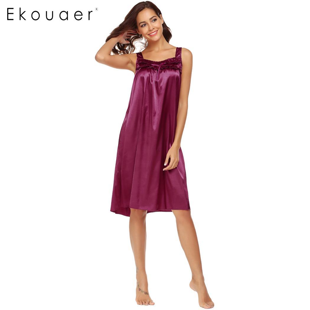 Ekouaer Women Satin Nightgown Sleepshirt Sleeveless Ruffled Lounge ...