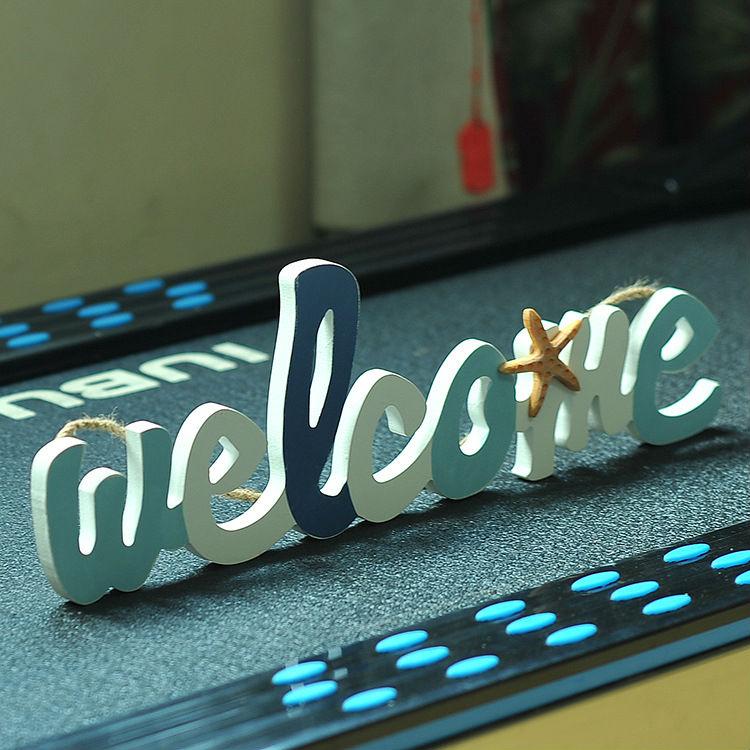 Mediterranean Style Wooden Welcome Shingle Door Plate Plaque Sign Home Decoration Accessories Home Door Welcome Sign