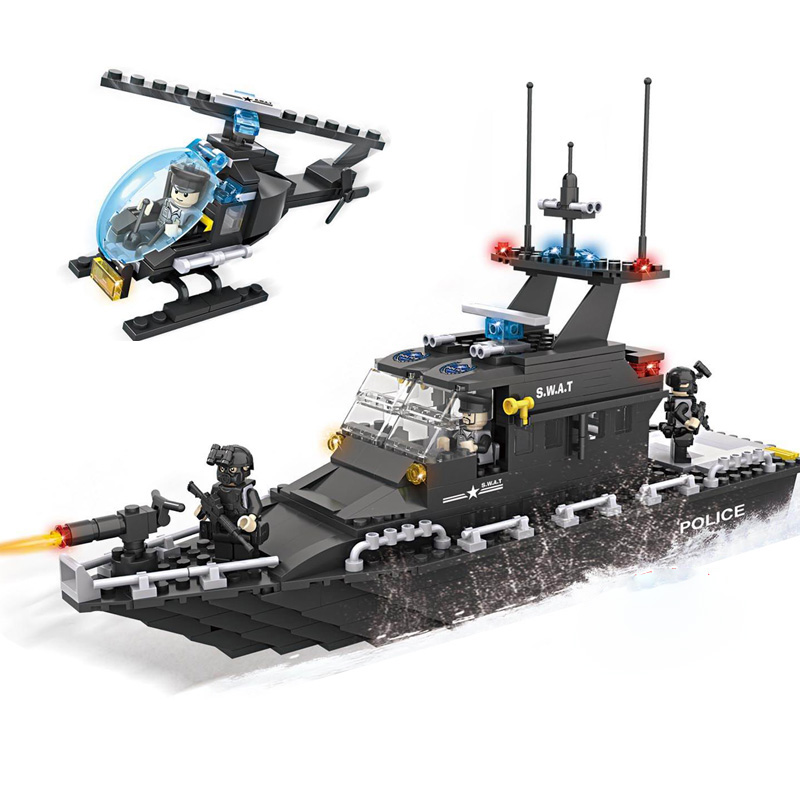 KAZI Police Escort Boat Helicopter SWAT Series Action Model Building Blocks Set Bricks Educatiional Toys For Children Gifts kazi 6726 police station building blocks helicopter boat model bricks toys compatible famous brand brinquedos birthday gift