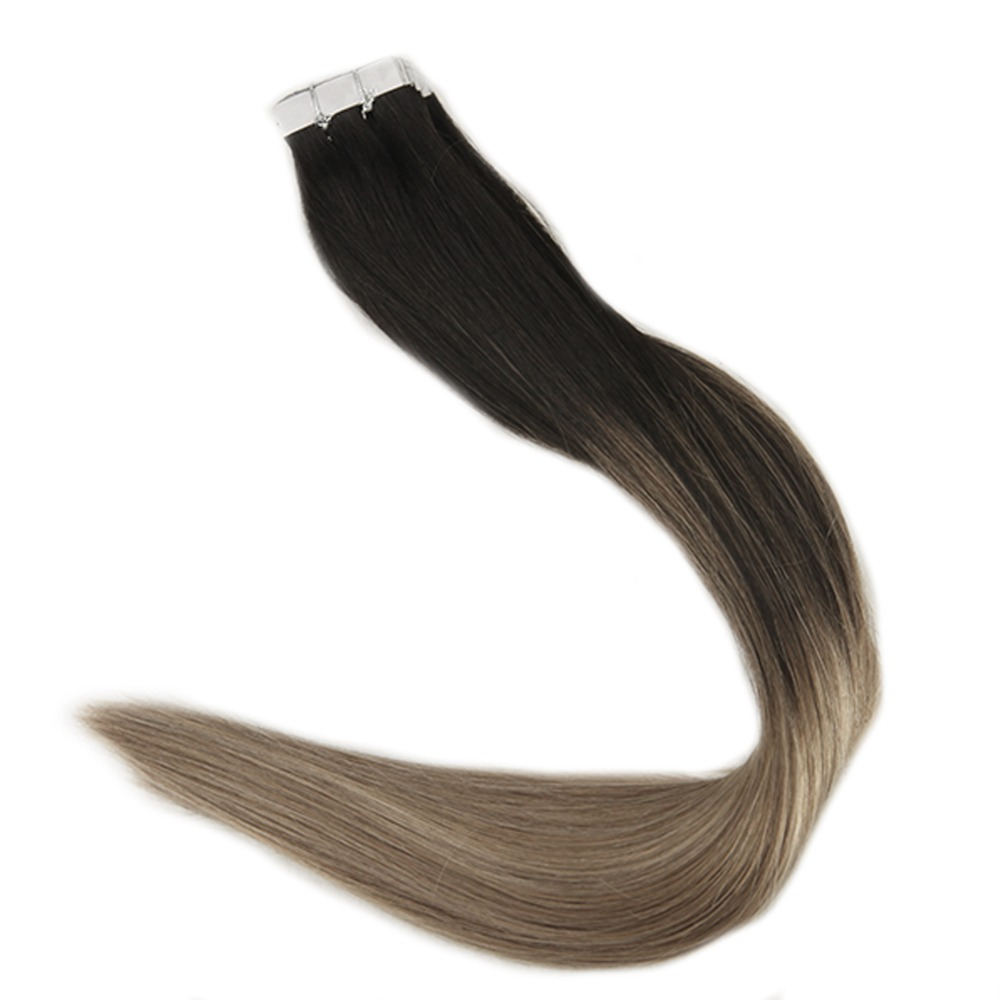 Full Shine Remy Human Hair Extension Color #1B Fading To Color #8 Ash Brown And Color #24 Light Blonde Balayage 20 Pcs Tape Ins