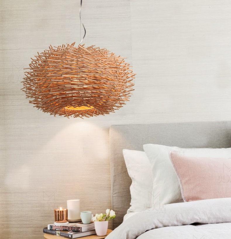 Современный деревянный ротанга ручной работы птица в гнезде каркасный подвесной светильник с светодиодный E27 лампа подвесной светильник д