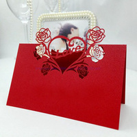 100pcs Laser Cut Red Sweet Love Heart Flowers Place Card Wine Wedding Invitation Decoration Holder Party