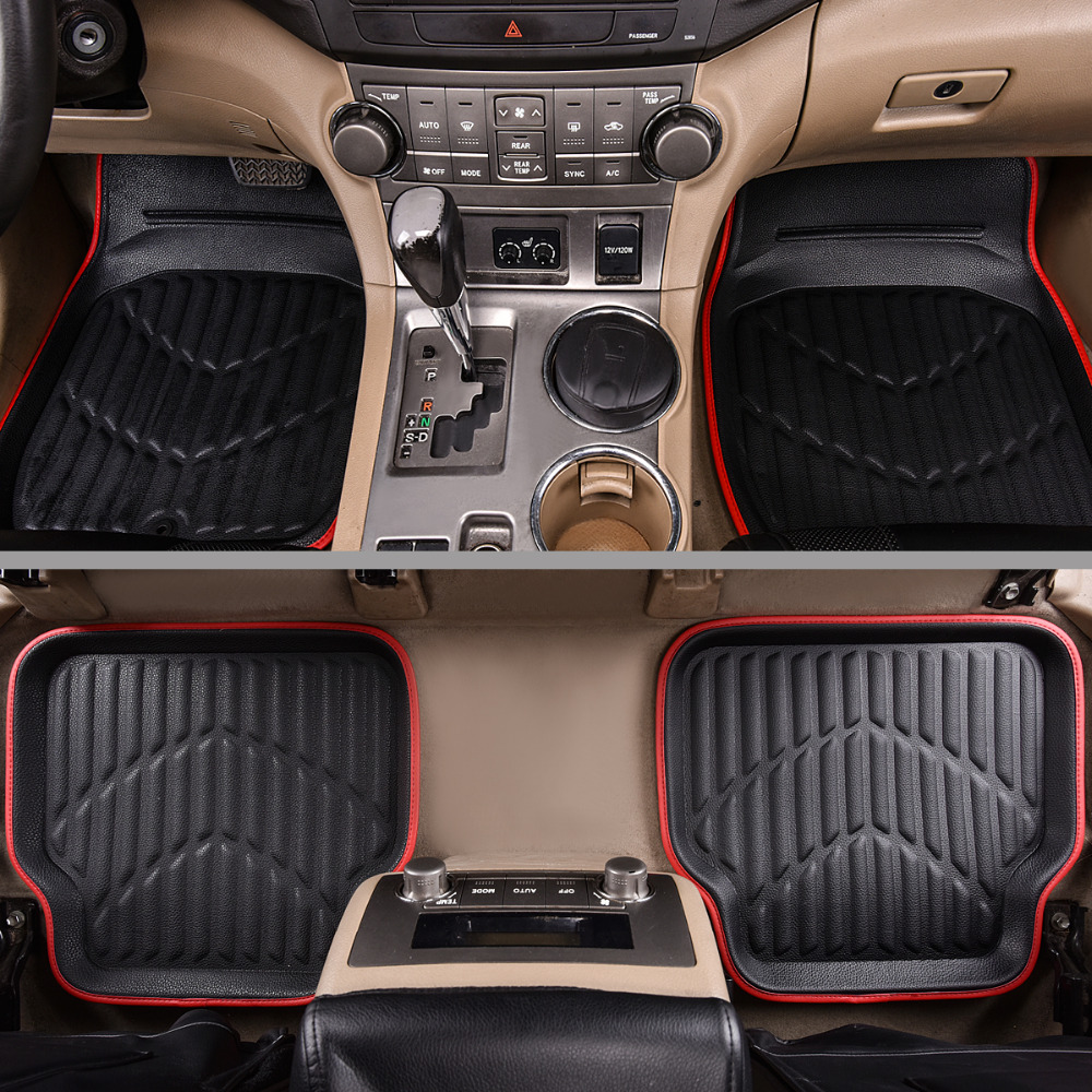Car-pass Car Floor Mats Pvc Leather Black/Red 4 Pieces Front & Rear Carpet Auto Black Skidproof Mat Waterproof Floor Mats 5 seats 1 set customs car floor mat leather waterproof front