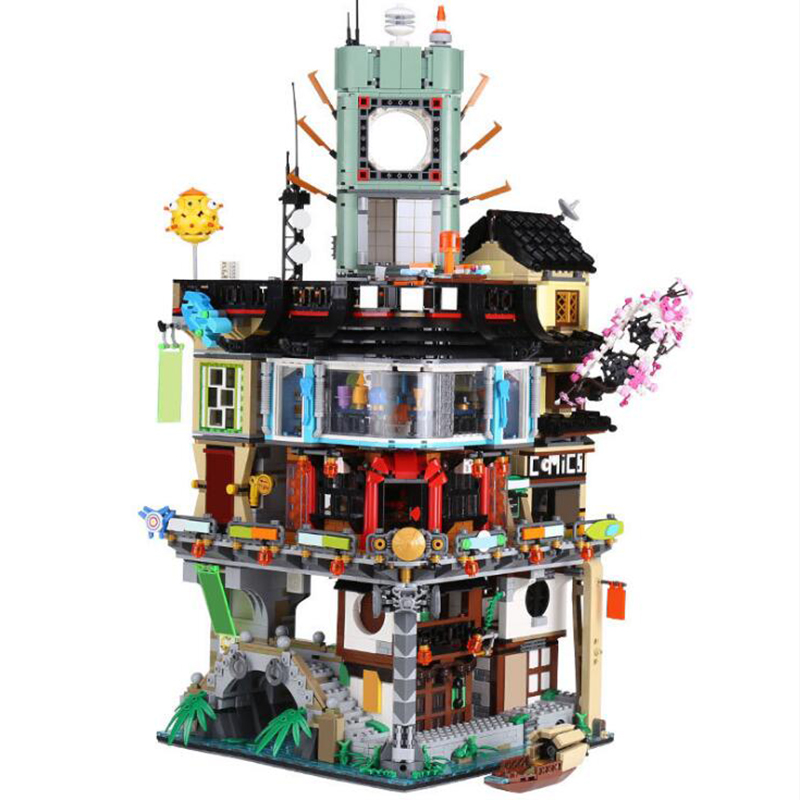 06066 4953 pcs Ninjago Masters of Spinjitzu City 06022 ninja Temple of Airjitzu ninja city Construction Blocks Bricks Toys 70620 city of glass