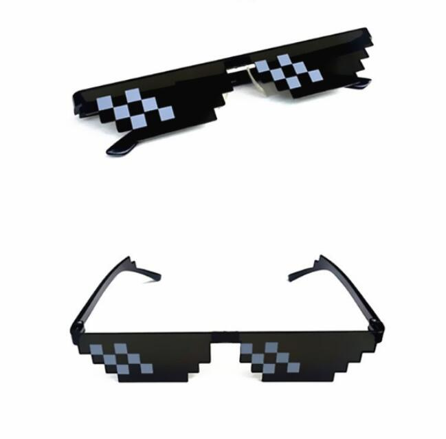New Mosaic Sunglasses Trick Toy Thug Life Glasses Deal With It Glasses Pixel Women Men Black Mosaic Sunglasses Funny Toy