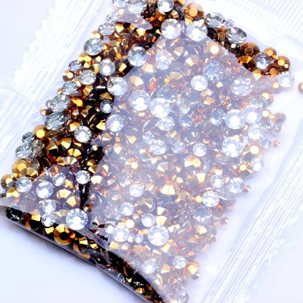 1000 pcs זהב צבע ללא תיקונים שרף Rhinestones 2-5mm ומעורב גדלים עגול Flatback דבק על יהלומים DIY 3D נייל אמנות קישוט