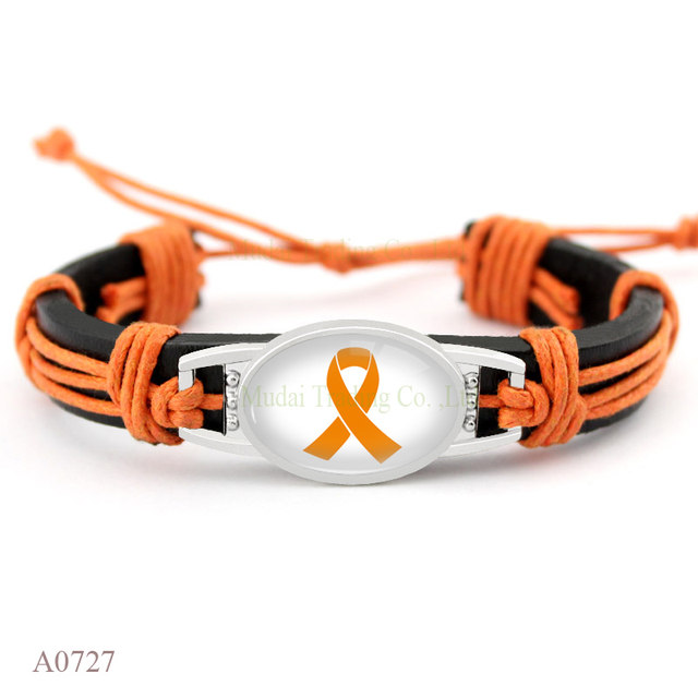 Custom Autism Awareness Strong Hope Fighter Warrior Ribbon T Cure Childhood Cancer Bracelets For Men Women Jewelry