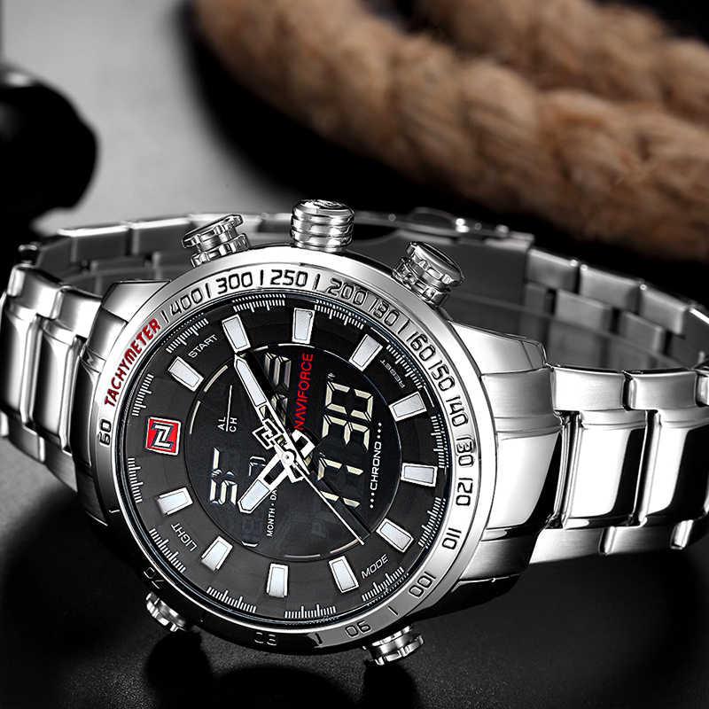 NAVIFORCE marca superior relojes deportivos militares para hombre reloj Digital analógico LED para hombre reloj de cuarzo inoxidable militar Masculino reloj Masculino