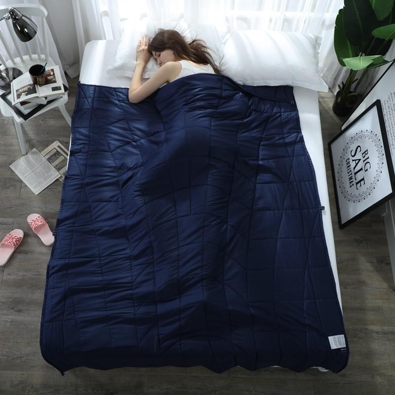 Взрослых декомпрессии тяжести одеяла 100% хлопок синий сплошной цвет мягкий сна помощи давление вес Стёганое одеяло/одеяла для