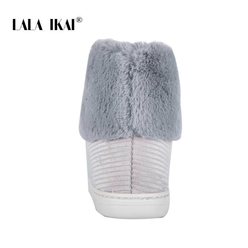 LALA IKAI Kadın Kış Kar Botları Açık kürk Tutmak sıcak ayakkabı Kadın Akın kayma-on Yün Botları Katı günlük çizmeler XWA5993-4