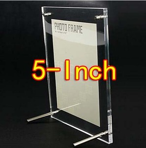 100PCS/LOT  5-Inch Transparent Acrylic Photo Frame  Organic Glass Picture Frame Stand  (Thickness:8mm+8mm)