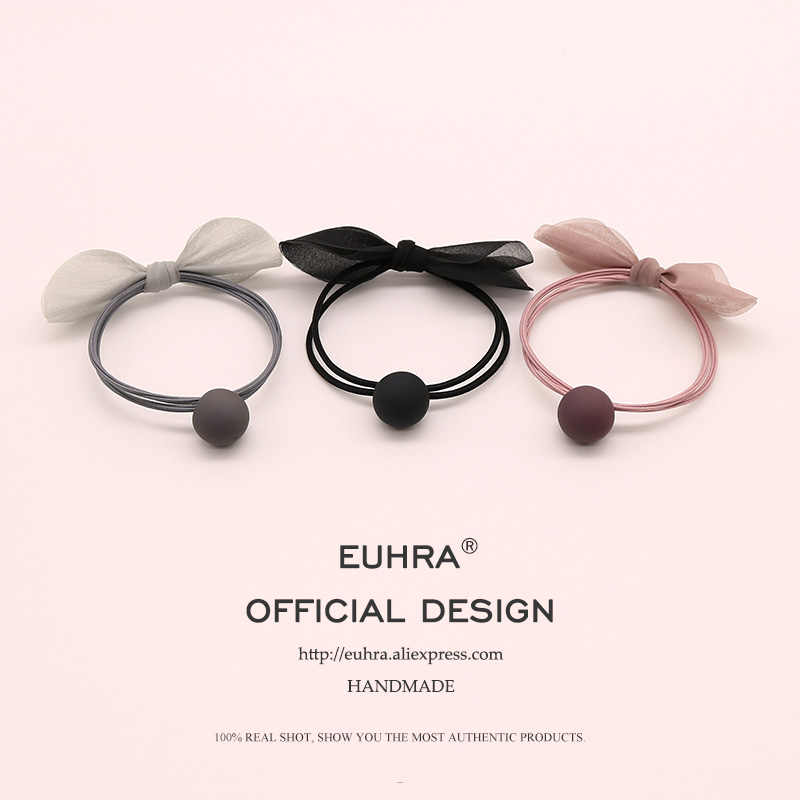 EUHRA 3 Colors Elastic Hair Bands Bow-knot Rosette Frosted Ball Elasticity Women Girls Hairband Children Rubber Band