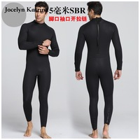 Men 5MM Long Sleeve SCR Black Diving Suit Neoprene Men's Wetsuit Front Full Body Swim Scuba Surfing Snorkeling Bathing Suit