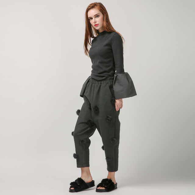 [TWOTWINSTYLE] Spring Real Rabbit Fur Ball Casual Harem Pants Women Loose Gray Black Fleece Trousers New Fashion Clothing