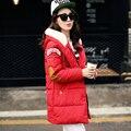 2016 Мода зимняя куртка женщины Длинные Повседневная Мода Женщин Куртка Женская С Капюшоном Пальто Парка Холодная Теплая верхняя одежда Плюс Размер