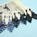 Perfecto Rhinestone Brincos Turca Woman Wedding Jewellery Collar Pendientes Fashion Royal Blue Earring Nobel Anniversary Brinco