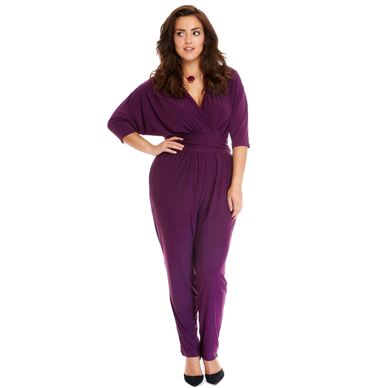 d94fc525aacc Summer Plus Size Women Bodysuit Fashion Half Sleeve Casual Jumpsuit For  Women Sexy Deep V Neck Ladies Party Bodysuit -in Jumpsuits from Women's  Clothing on ...