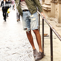 SIMWOOD Марка Мужские Джинсовые Шорты 2016 Новый Летний Регулярный Повседневная Краткости Длины колена Отверстие Джинсы Шорты Для Мужчин Бесплатная Доставка KD5018