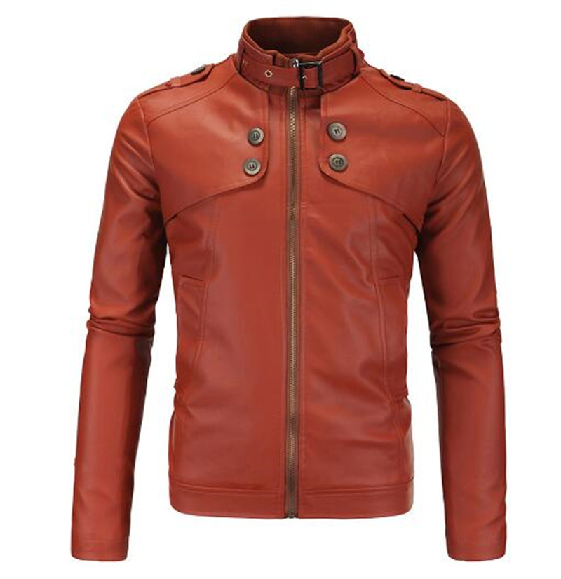 New Motorcycle Jackets Men Vintage Retro PU Leather Jacket Racing Biker Punk Classical Faux Leather Windproof