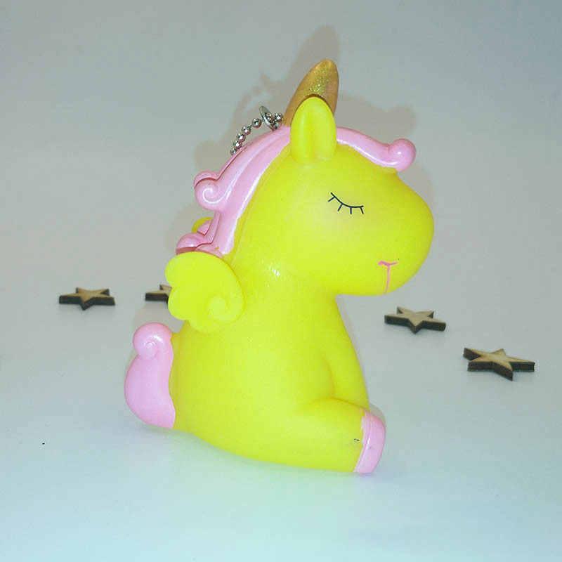 Брелок для ключей с единорогом подвеска милый мини животное Сжимаемый Звук брелок «Жираф с мехом» женская сумка Шарм брелок для ключей подвеска брелок для ключей с единорогом подарки