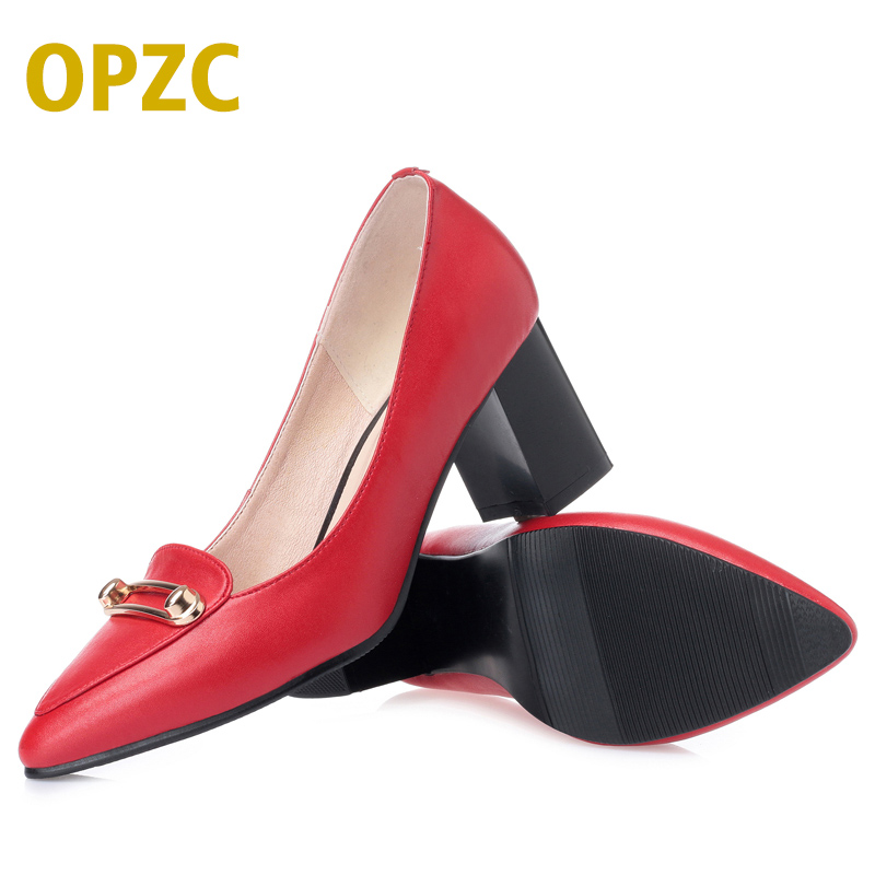 OPZC Fashion Women Shoes leather Women Square High Heel Women Pumps zapatos mujer sapato feminino Pointed Toe Casual Ladie shoes fashion suede leather heeled sandals pointed toe lace up women pumps spikle high heel women shoes zapatos mujer