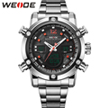WEIDE Sports Watches Men Silver Stainless Steel Band LCD Quartz Movement Analog Digital Display Big Dial Multifunctional Watch