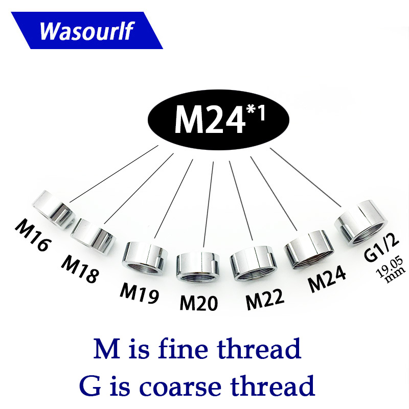 WASOURLF 1PC M16 M18 M19 M20 M24 Female Thread Connector Shower Bathroom Kitchen Brass Chrome Faucet Accessories