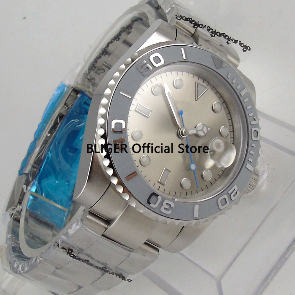 40mm Silver Sterile Dial Grey Ceramic Rotating Bezel Luminous Sapphire Glass Miyota Automatic Movement Men's Watch