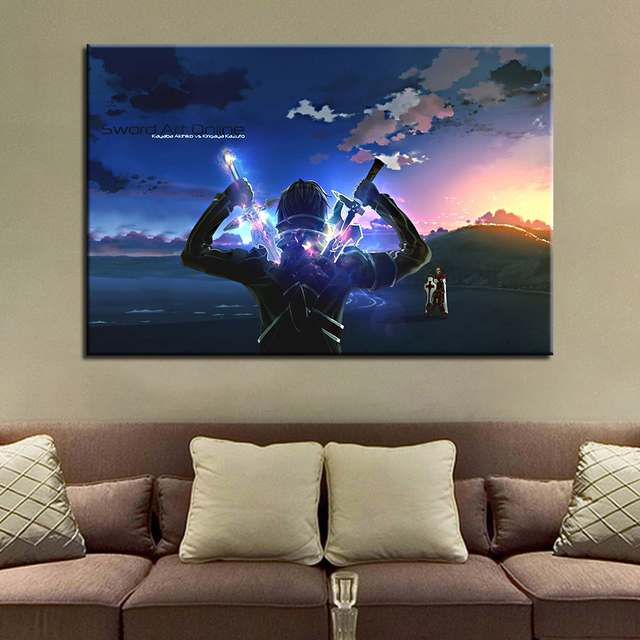 Canvas Paintings Home Decor HD Prints Poster 1 Piece/Pcs Sword Art Online Kirito Anime Pictures Living Room Wall Art Framework 1