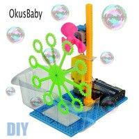 DIY ручная автоматическая машина для изготовления пузырьков, воздуходувка, игрушки для детей, обучающая пластиковая модель, набор электриче...
