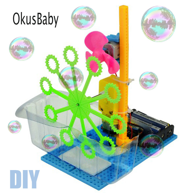 DIY Hand Craft Automatic Bubble Machine Blower Maker Toys Children Educational Plastic Model Assemble Electric Summer Toys Set