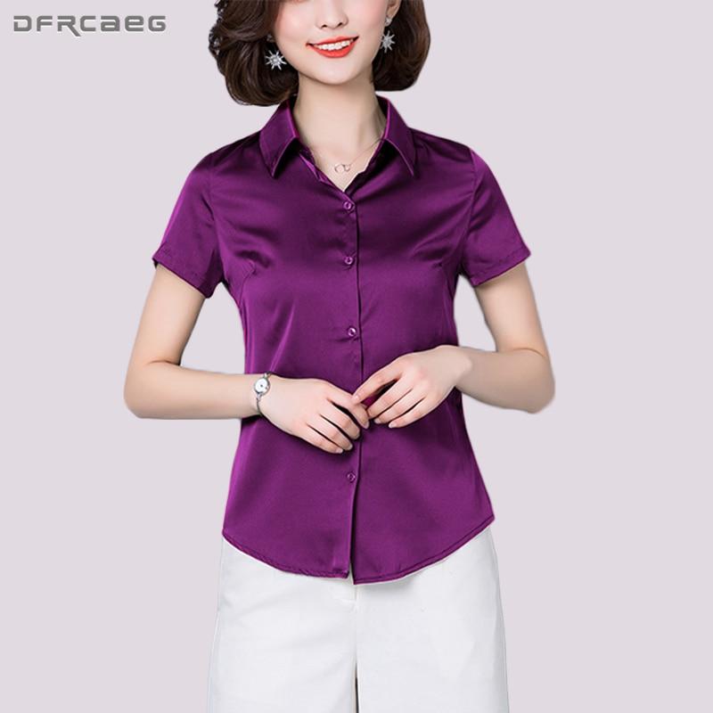 Señoras púrpura Nuevo Blusas Verano 2018 azul Corta Coreano Sólido Feminina Manga Marino Azul Delgadas Oficina Tops Blusa Formal Moda Mujer Estilo Camisas wqxPAXH