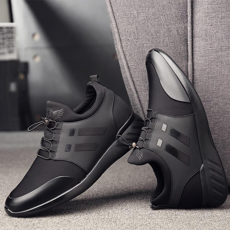 Image 3 - 2019 chaussures pour hommes qualité Lycra + vache cuir chaussures marque 6CM augmentant britannique chaussures nouveau printemps noir homme décontracté hauteur chaussures-in Chaussures décontractées homme from Chaussures on AliExpress