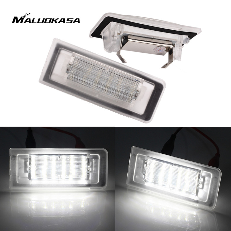 MALUOKASA 2PCs 4014SMD LED License Plate Light Number Lamp Car-styling For Audi TT Roadster 8N9 Coupe 8N3 1999-2006 Automobiles cawanerl car canbus led package kit 2835 smd white interior dome map cargo license plate light for audi tt tts 8j 2007 2012