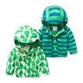 Crianças Primavera marca Jaquetas Além de Veludo Meninos Casaco Outerwear 2-8 Anos Crianças Com Capuz Outono Jaqueta À Prova de Vento À Prova D' Água Para meninos