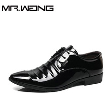Cheapest Working Office shoes mens patent leather Oxfords business wedding black shoes lace up Pointed toe leather flats AB-23