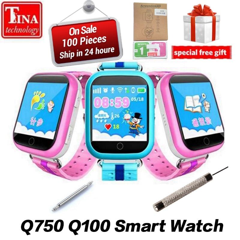 D'origine GPS Montre Smart Watch Q750 Q100 Bébé Montre Smart Watch Avec 1.54 pouces Tactile Écran SOS Appel Dispositif de Localisation Tracker pour kid Safe