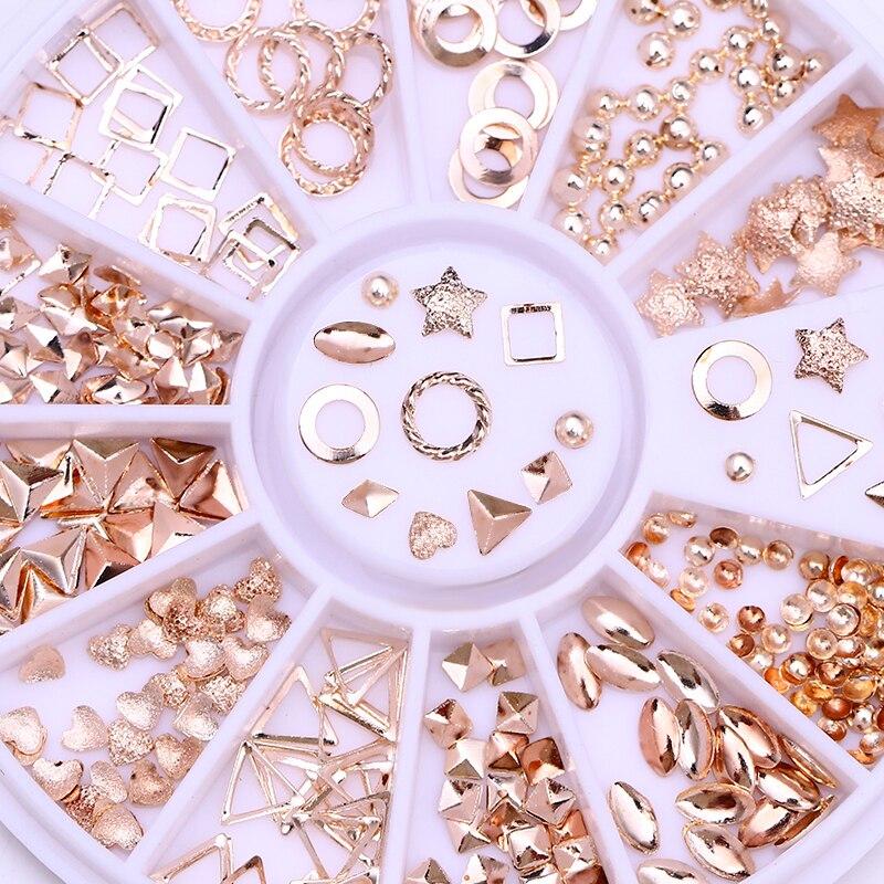 Маникюрные гвоздики с геометрическим узором, заклепки из розового золота, квадратные звезды, смешанный дизайн ногтей, 3D украшение в колесах...