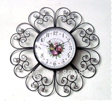 iron craft both side clock home decoration iron Crafts europe style clock wholesales