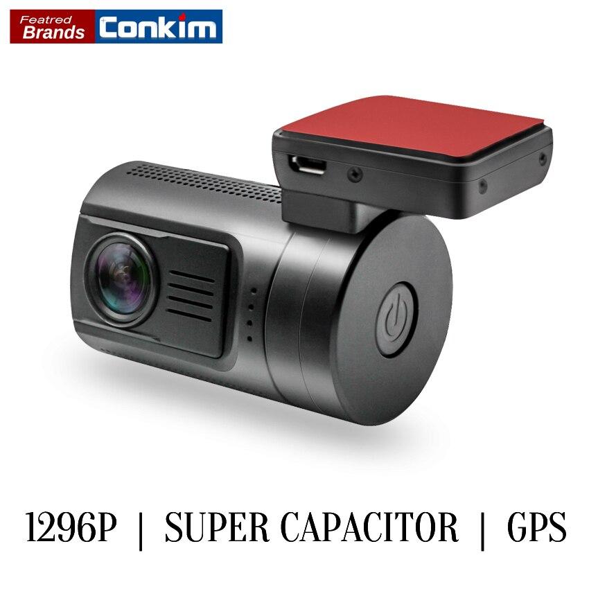 Conkim Dash Caméra Mini 0806 s Auto Dash Cam DVR Caméra Ambarella A7 1296 p 1080 p HDR Voiture Noir boîte GPS Logger Détecteur de Mouvement