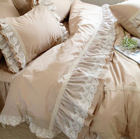 Pure color lace ruffled bedding set adult,twin full queen king cotton single double bedclothes bed skirt pillowcase duvet cover
