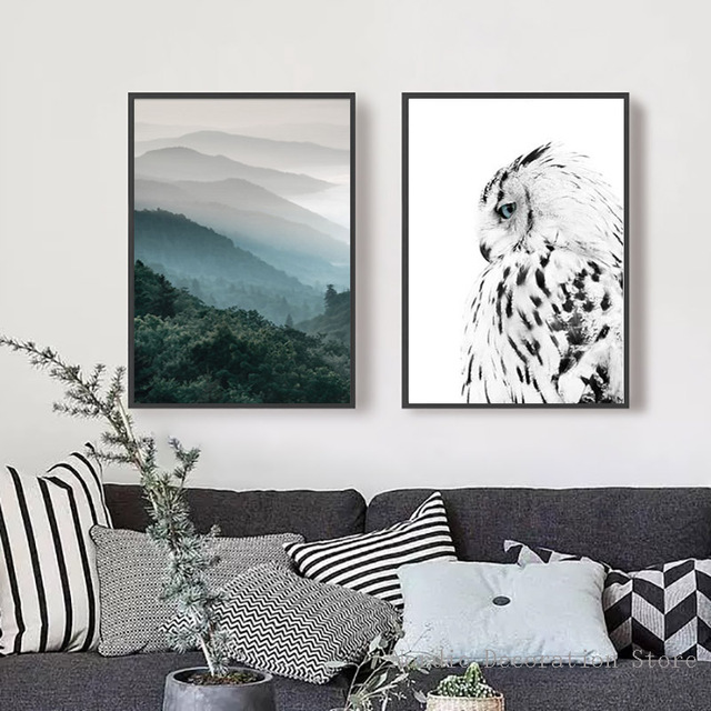 Wall art green forest poster black and white owl canvas painting posters and prints nordic two