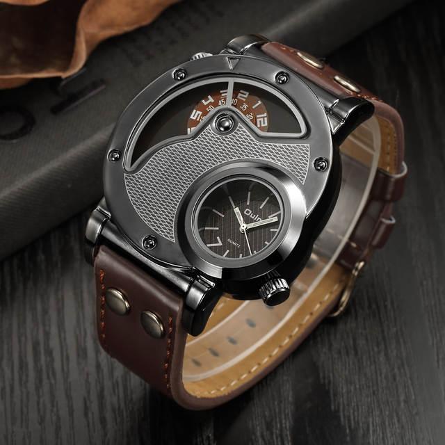 2325d1c8a60 Homem Oulm Projeto Original Pulseira de Couro de Quartzo Relógios Top Marca  de Luxo Militar Esporte