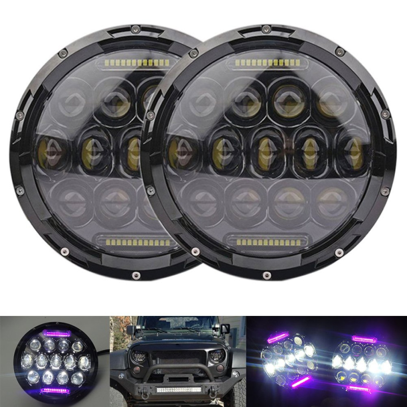 FADUIES 1Pair 7 Inch 75W Black Round LED Headlight with High Low Beam PinK DRL For Offroad Jeep Wrangler JK TJ Harley Motorcycle faduies 1 pair 4 5 inch harley motorcycle led headlight high low beam with drl angle eyes for harley fat bob fxdf led headlamp