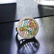 Кольцо с кристаллами карамельных цветов большое круглое дизайнерское