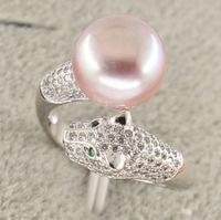 Free Shipping >>>> natural south seas pink pearl ring size adjustable 925 silver jaguar