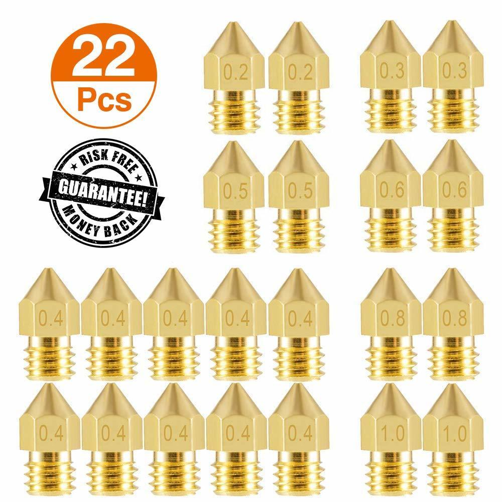 22 Pieces 3D Printer Nozzles MK8 Extruder Nozzle 0.2/0.3/0.4/0.5/0.6/0.8/1.0mm Brass Extruder Print Head For 3D Printer Anet A8