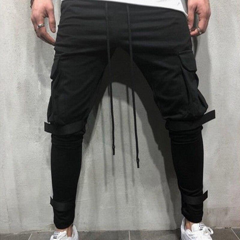2018 Brand Men Pants Hip Hop Harem Joggers Pants 2018 Male Trousers Mens Joggers Solid Multi-pocket Pants Sweatpants 3XL