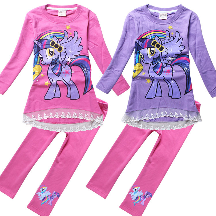 eb5601a72 New arrival girls little pony clothing set o-neck long sleeve t shirts +  pants 2pcs my baby girls clothes active suits ACS463